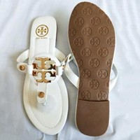 Tory Burch Summer Classic Popular Women Casual Sandal Slippers Shoes White