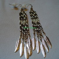 Native American Style Bronze and Silver Feathers fringe earrings