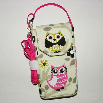 Cell Phone iPhone Smartphone Evo Droid iPod Case Small Mini Purse Vertical Cross Body Bag Strap: Owls Pink Green Black White Cream