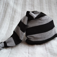 Newborn boy hat. Gray and black stripes. Soft stretchy knit material. Size- newborn.   Made by lippybrand.