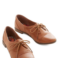 ModCloth Menswear Inspired Readily Reliable Flat in Caramel