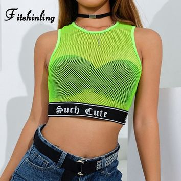 Fitshinling Mesh patchwork tanks tops women clothing neon green fluorescence summer crop top female hollow out sexy tank vests