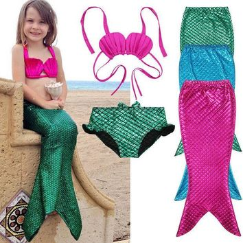 ESBONJ 3PCS Girl Kids Mermaid Tail Swimmable Swimwear Swimsuit Girls Bikini Set Bathing Suit Fancy Costume 3-9Y size 100-150