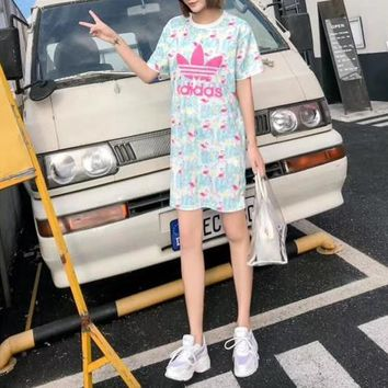 """Adidas"" Fashion Casual Flamingo Letter Print Short Sleeve Middle Long Section T-shirt Mini Dress"