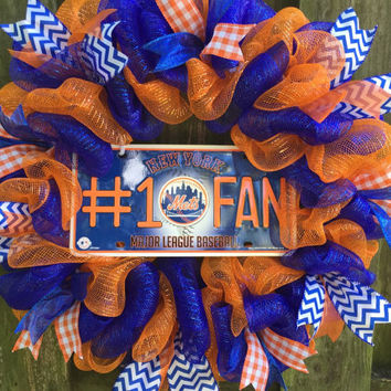 Mets Wreath, New York Mets Wreath, Mets Decor, Mets Gifts, New York Mets, Deco Mesh Wreath, Front Door Wreath, Handmade Gift, Mets Baseball