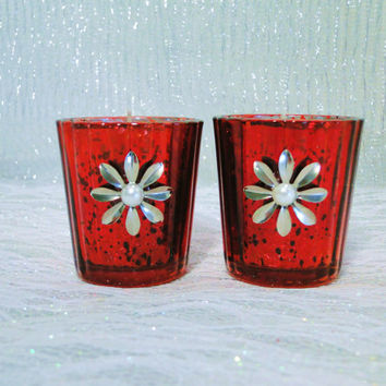 Candle Holder Votive Tea light Red Mercurized Glass Metal Flower Pearl Center With Candles Set of 2
