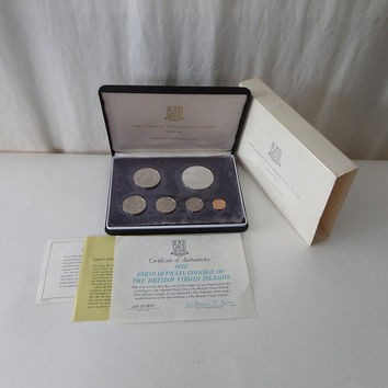 1973 British Virgin Islands Proof Set, Franklin Mint 6 Coins with Sterling Silver 1 Dollar