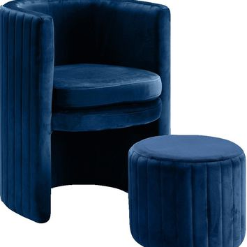 Selena Navy Velvet Accent Chair and Ottoman Set