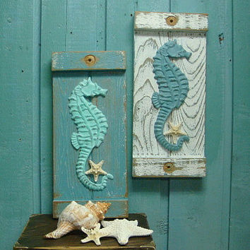 Seahorse Starfish Sign Wall Art Beach House Decor
