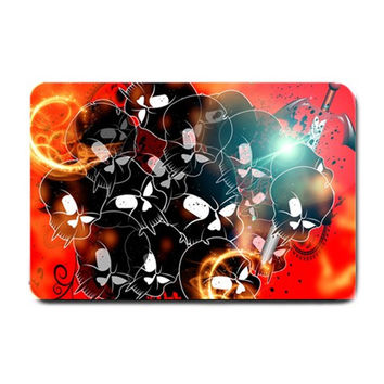 Black Skulls On Red Background With Sword Small Doormat
