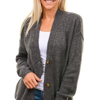 Heather Charcoal Button Down Cardigan