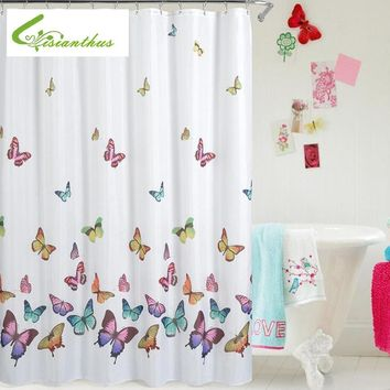 Butterfly Print Shower Curtain Waterproof Mildew Proof Polyester Fabric Bathroom Curtains 180cm*180cm Newest Simple Design