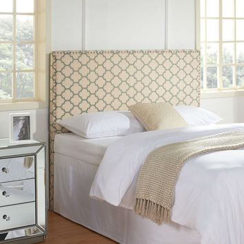 Full / Queen Upholstered Headboard with Lattice Trellis Pattern