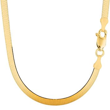 14k Yellow Solid Gold Imperial Herringbone Chain Necklace, 4.7mm