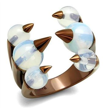 WildKlass Stainless Steel Ring IP Coffee Light Women Synthetic White