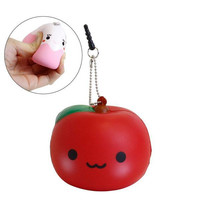 Juju Chan and Friends Squishy Mascot Ball Chain Ringo Chan (Red)