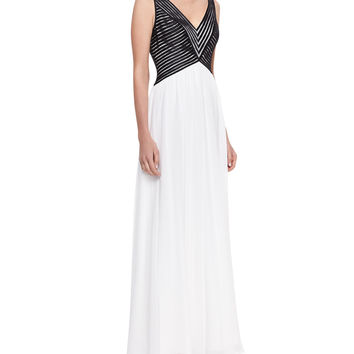 Women's Sleeveless V-Neck Combo Gown, Black/White - Aidan Mattox - Black/White (14)