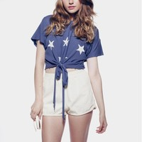 STARSHINE  COWGIRL T at Wildfox Couture in  DUSTY NAVY, SUNSHINE
