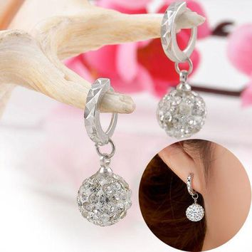 Lnrrabc Women Earrings 10mm/12mm Crystal Rhinestone Ball Ear Dangle Earrings Fashion Jewelry Boucle D'oreille Drop Shipping