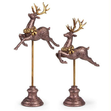 "2 Reindeer Figures - Small: 15.5 "" H X 9 "" W X 4 "" D"