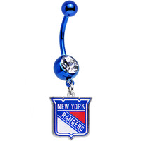 Licensed Clear Gem Blue Anodized NHL New York Rangers Belly Ring | Body Candy Body Jewelry