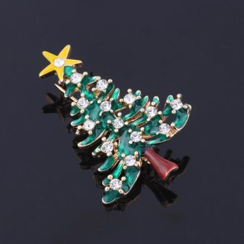 Fashion Chain Jewelry Christmas Tree Rhinestone Brooch Jewelry