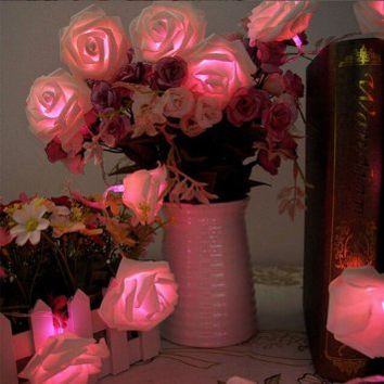 Cellrizon 2.2m 20led Rose Flowers String Lights, Clear Cable Bedroom Wedding, Party Christmas Decoration Solar/Battery LED Light (pink)