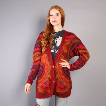 1980s MOHAIR CARDIGAN / Abstract Floral Paisley Mohair Sweater Coat