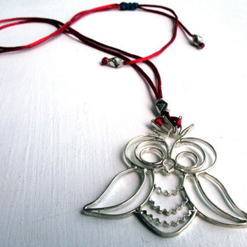 Sterling Silver Hand Made Owl Necklace, Adjustable Red Silk Cord Necklace Modern& Chic Design