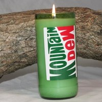 Upcycled Soda Bottle Candle, Upcycled Moutain Dew Bottle, Highly Scented in Mountain Dew Fragrance