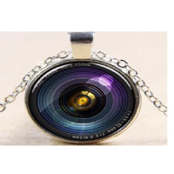 Antique Silver Plated Round Camera Lens Pendant Necklace For Men