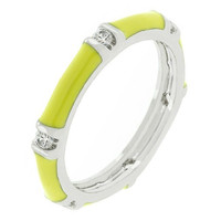 Yellow Enamel Stacker Ring, size : 10