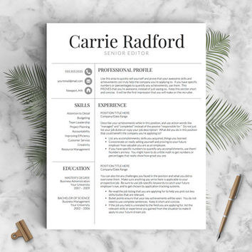 Classic, Professional Resume Template for Word and Pages (US Letter & A4) 1, 2 or 3 Page Resume Template, Icons, Guide | Instant Download