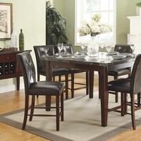 7 pc Decatur collection espresso finish wood and marble top counter height dining table set with upholstered seats