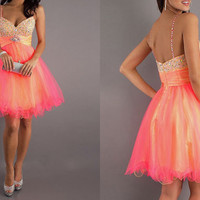 Custom Made Organza Short Prom Dress,Cocktail Dress,Beads Prom Gown,Party Dress