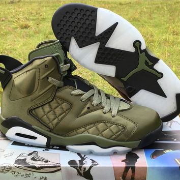 Air Jordan Retro 6 Flight Jacket Pinnacle Basketball Shoes Saturday Night Live Nylon Army Green AH4614-303 With Original Box