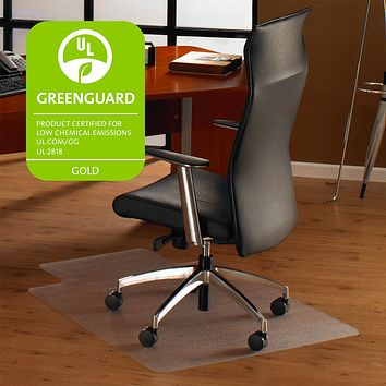 Cleartex Ultimat Polycarbonate Clear Chair mat for Hard Floor, Rectangular with Front Lipped Area for Under Desk Protection