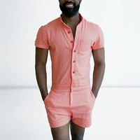 *online exclusive* men's button up romper