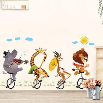 Animal forest lion large wall stickers decals kids room decor nursery school diy removable