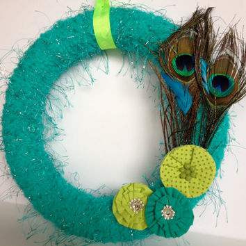Teal and Lime Green Peacock Flowered Yarn Wreath - 12 inches