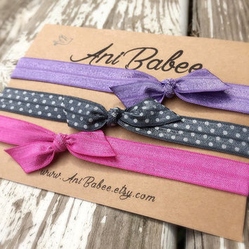 Tie knot baby headband, bow headband, headband set, polka dot headband, headband for baby, toddler, and teen girls