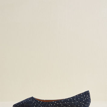 Curious Constellations Suede Flat