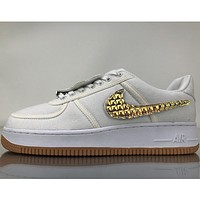 Nike Air Force Low help three-color Velcro personality tide brand trendy sneakers F white+gold hook