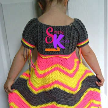 Intermediate Crochet Girls Toddler 2T 3T Chevron Short Sleeve Bell Skirt Special Event Wedding Birthday Dress Ballgown Pattern