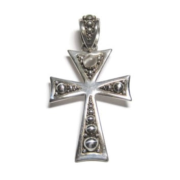 Large Vintage Sterling Moonstone Cross Pendant