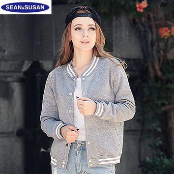 Winter 2016 Classic College Standard Jackets Women Basic Coats Bomber Basic Jacket Women Giacca donna Vestes Chaquetas Mujer