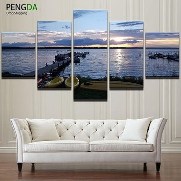 Modular Painting Wall Art Picture Modern Canvas Poster Frame 5 Panel Sunset Boat Bridge Sea Landscape Home Decor HD Print PENGDA