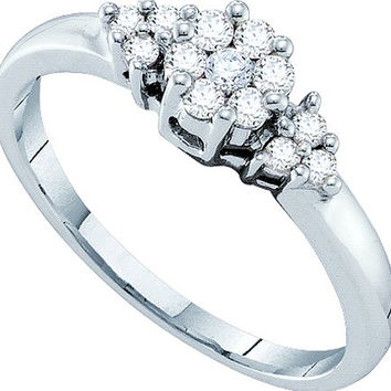 Diamond Ladies Flower Ring in 14k White Gold 0.25 ctw