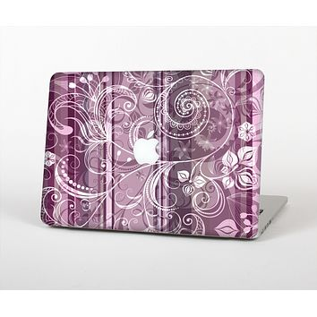 The Purple and Gray Stripes with Overlapping Floral Skin for the Apple MacBook Air 13""