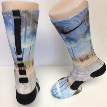 Custom Moon and Beach nike elite crew socks